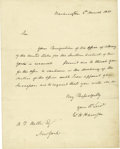 Autographs:U.S. Presidents, William Henry Harrison, a day after his inauguration, signs one of two Manuscript Letters as President known to exist! William...