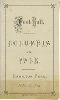 Football Collectibles:Publications, The Oldest Known Football Program. Presented here for the most serious and dedicated collectors of early football memorabil...