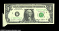 Error Notes:Foldovers, Fr. 1913-F $1 1985 Federal Reserve Notes, Crisp Uncirculated.... (2notes)