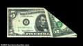Error Notes:Foldovers, Fr. 1971-B $5 1969B Federal Reserve Note. Very Fine-...