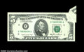 Error Notes:Foldovers, Fr. 1978-E $5 1985 Federal Reserve Note. Gem Crisp ...