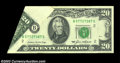 Error Notes:Foldovers, Fr. 2075-B $20 1985 Federal Reserve Note. About Uncirculated....