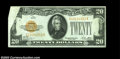 Error Notes:Obstruction Errors, Fr. 2402 $20 1928 Gold Certificate, About Uncirculated. A ...