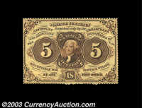 Fr. 1229 5c First Issue Choice New. This is the rarer Perforated no-monogram variety. The colors are excellent, as is th...