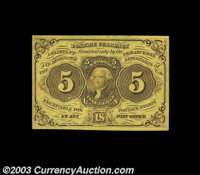 Fr. 1230 5c First Issue Superb Gem New. Huge margins, perfect centering of both sides and strictly original paper surfac...