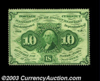 Fr. 1240 10c First Issue Very Choice New. Deep, full perforations all the way around, with a huge top margin and somewha...
