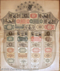Gray Fractional Currency Shield. A beautifully bright Shield with all of the notes retaining their full, flashy color, w...