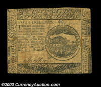 Continental Currency May 10, 1775 $4 Fine. A moderate stain affects the back only on this clearly printed circulated Con...
