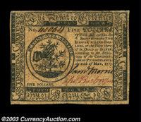Continental Currency May 10, 1775 $5 Extremely Fine. Bold signatures and unusually broad margins make this quite a hands...