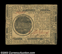 Continental Currency May 10, 1775 $7 Gem New. A very nice example of this first Continental issue, with strong signature...