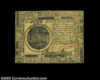 Continental Currency May 10, 1775 $7 Extremely Fine. A well margined and attractive example of this first Continental is...