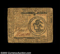 Colonial Notes:Continental Congress Issues, Continental Currency July 22, 1776 $3 Choice Very Fine. A ...