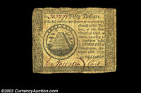 Two Continental notes. The first is a Very Fine $50 September 26, 1778 and the second a Very Good $8 from May 10, 17