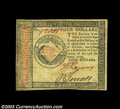 Colonial Notes:Continental Congress Issues, Continental Currency January 14, 1779 $4 Extremely Fine. A ...
