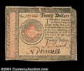 Colonial Notes:Continental Congress Issues, Continental Currency January 14, 1779 $20 Extremely Fine. ...