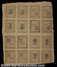 Delaware January 1, 1776 Uncut Double Sheet of 16. A beautiful sheet made up of four each of the 4s, 5s, 6s, and 10s not...