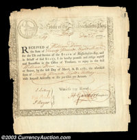 Massachusetts Revolutionary Period Bond. Anderson MA-11, dated December 1, 1777. Far more broadly margined than most exa...