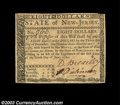 Colonial Notes:New Jersey, New Jersey June 9, 1780 $8 Choice About New. A scarce note ...