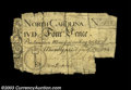 Colonial Notes:North Carolina, North Carolina 4d March 9, 1754 Fine, Damaged. Multiple ...