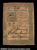 Colonial Notes:Pennsylvania, Pennsylvania October 1, 1773 10s Choice Very Fine. A well ...