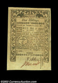 Colonial Notes:Rhode Island, Rhode Island May 1786 5s Choice About New. Nicely margined,...