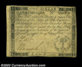 Colonial Notes:South Carolina, South Carolina October 19, 1776 $1 Choice Very Fine. This ...