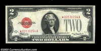 Fr. 1505* $2 1928D Legal Tender. Extremely Fine. This bright, beautifully colored star has three light folds but an exce...