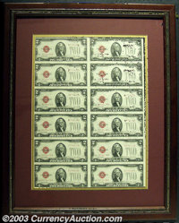 Fr. 1508 $2 1928G Legal Tender. Uncut Sheet 12. Beautifully framed and matted so that both sides are readily visible. Di...