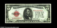 Fr. 1525* $5 1928 Legal Tender. Very Fine. Soft surfaces and subdued red color detract from this beautifully centered sc...