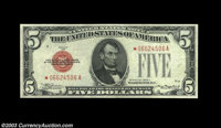 Fr. 1528* $5 1928C Legal Tender. About Uncirculated. Well centered, bright, and attractive, with no detractions other th...