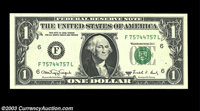 Fr. 1917-F $1 1988A Web Federal Reserve Note. Gem Crisp Uncirculated. A flawless example from the very scarce F-L block...