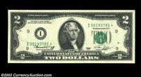 Fr. 1935-F* $2 1976 Federal Reserve Note. Gem Crisp Uncirculated. The key to the series of the Bicentennial deuces