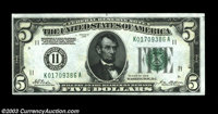 Fr. 1950-K $5 1928 Federal Reserve Note. Choice Crisp Uncirculated. A crackling fresh, boldly embossed example of this a...