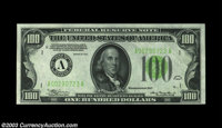 Fr. 2152-A $100 1934 Light Green Seal Federal Reserve Note. CGA Choice Uncirculated 64. A CGA encapsulated C-note with s...