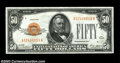 Small Size:Gold Certificates, Fr. 2404 $50 1928 Gold Certificate. Very Fine+.