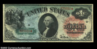 Fr. 18 $1 1869 Legal Tender Fine. A bit tight at the top and with a few small pinholes, but with considerable color rema...