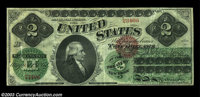 Fr. 41 $2 1862 Legal Tender Fine-Very Fine. There are a few paper scuffs and lightly peeled areas, but the ink color is...