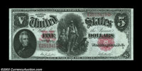 Fr. 87 $5 1907 Legal Tender Choice About New. There is an extremely light center fold on this otherwise Superb bright, s...
