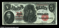 Fr. 87 $5 1907 Legal Tender Choice About New. But for a very soft center fold, this perfectly original note is fully Gem...