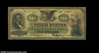 Fr. 93 $10 1862 Legal Tender Very Good. There are a few pinholes, but this well circulated early Ten has no other conspi...