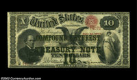 Fr. 190a $10 1864 Compound Interest Treasury Note Very Fine. Fewer than two dozen examples of this number are known, and...