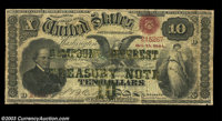 Fr. 190b $10 1864 Compound Interest Treasury Note Fine. There are a few very minor repairs of edge splits and internal s...