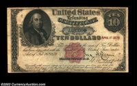 Fr. 214 $10 1879 Refunding Certificate Fine. Decently margined and rather attractive for the grade, but the note has a w...