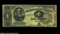 Fr. 347 $1 1890 Treasury Note CGA Fine 15. Appears to be problem-free for the grade save for one tiny pinhole