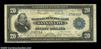 Fr. 827a $20 1915 Federal Reserve Bank Note Fine. A solid problem-free example, quite clean from the face but with somew...