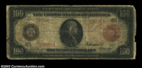 Fr. 1083a $100 1914 Red Seal Federal Reserve Note Good. Low-grade but quite rare, with only eight examples reported. The...