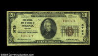 Phoenix, AZ - $20 1929 Ty. 1 First NB of Arizona at Phoenix Ch. # 3728 A problem-free Fine small size example from