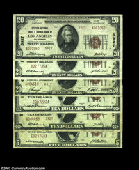 Half Dozen Small Size Los Angeles Notes. Los Angeles, CA - $5 1929 Ty. 1, $20 1929 Ty. 1 Security-First NB Ch. # 2491 Fi...