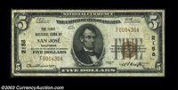 San Jose, CA - $5 1929 Ty. 1, $5 1929 Ty. 2, $10 1929 Ty. 1 First NB of San Jose Ch. # 2158 A nice trio of notes from t...
