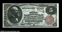 Washington, DC - $5 1882 Brown Back Fr. 474 The Riggs NB Ch. # (E)5046 A very nice District $5 Brown Back, a most uncom...